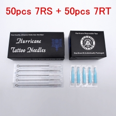 Tattoo Tips and Needles (7RS+7RT) 50PCS Disposable Sterile Tattoo Needle+50PCS Blue Disposable Tattoo tips Tattoo needle product