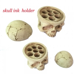 Tattoo ink cup holder Skull Head 7 Holes  Hard Resin Tattoo Ink Cup/Caps Holder Tattoo Ink Cup Holder Tattoo Accessory