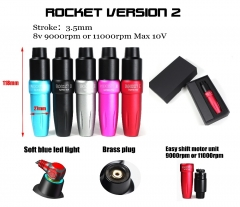 Rocket II Rotary Cartridge Tattoo Pen LED Light Space Aluminum Permanent Makeup Eyebrow Tattoo machine